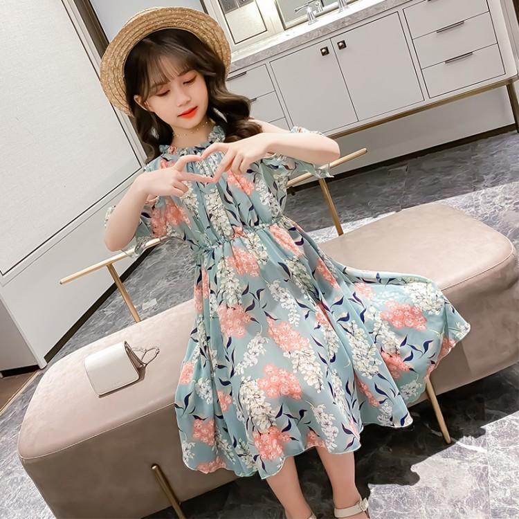 女童连衣裙夏装2021新款洋气女孩小波点超仙中大童装无袖网红裙子