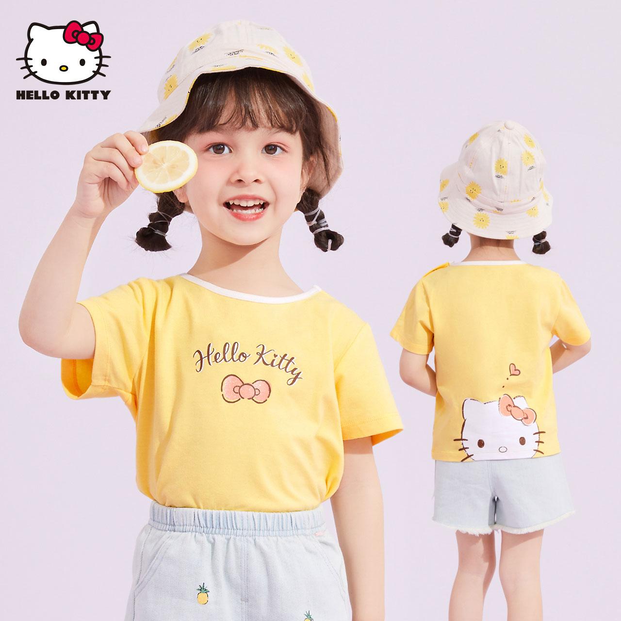 hellokitty女童宝宝短袖T恤夏季婴儿半袖体恤儿童装白色洋气上衣