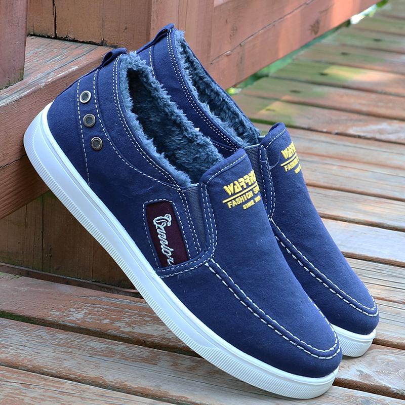 Mùa thu và mùa đông kéo lại đôi giày nam cộng với đôi giày cotton dày nhung ấm áp, đôi giày vải không trơn trượt cho nam - Plimsolls