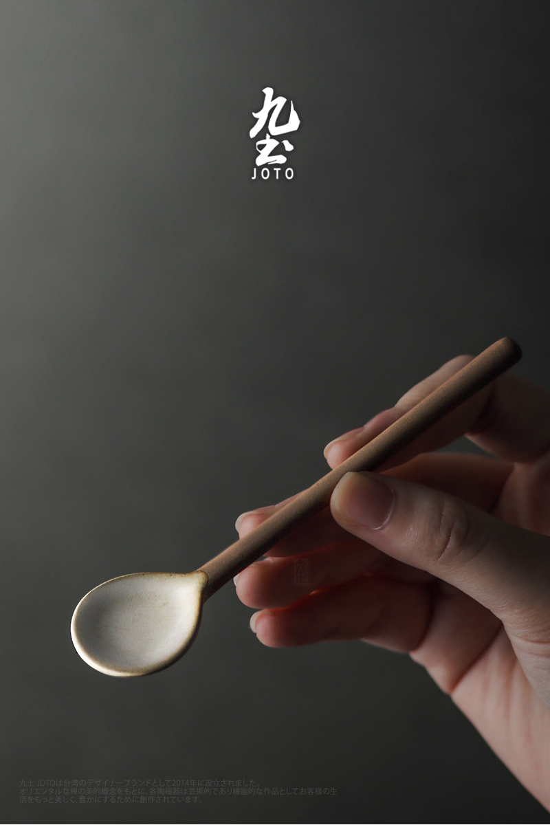 About Nine soil all hand retro coffee spoon, spoon, Japanese ceramic long handle coffee spoon, spoon, creative mixing spoon