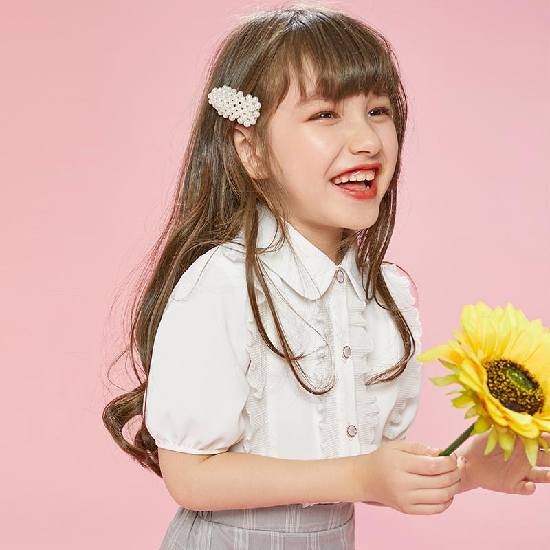 短袖雪纺夏装2020新款洋气衬衫上衣女童中大童夏季女孩儿童童装衫