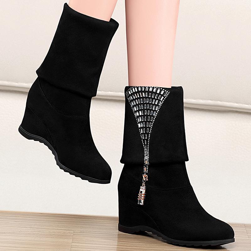 台湾红蜻蜓靴子有限公司RD女短靴内增高短靴女秋冬加绒坡跟女企业
