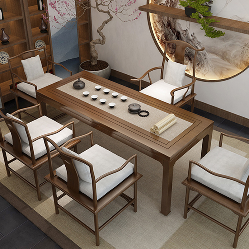 Solid wood tea table Wood 1 meter 8 household small tea table New Chinese Kung fu Zen modern simple tea table and chair combination