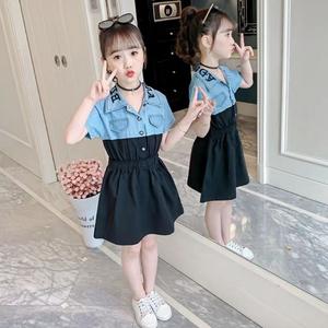 女童夏季连衣裙2021新款公主裙短袖牛仔