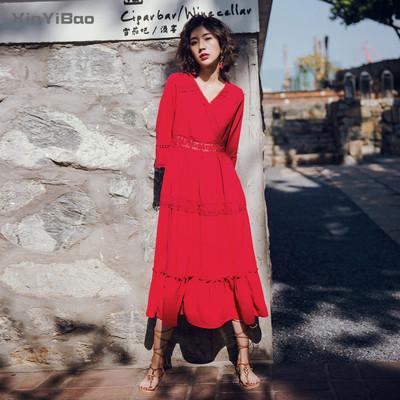 海边度假沙滩裙 女夏新款勾花镂空气质修身显瘦红色连衣裙长裙