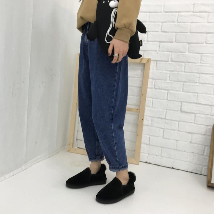 大码胖mm2018春季新款韩国百搭高腰萝卜裤九分哈伦小脚牛仔裤女潮