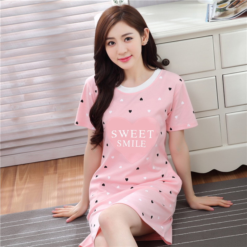 78164a2620 Summer Korean women s cotton short-sleeved nightdress XL Princess loose  cute pajamas sexy skirt home service-SGshop