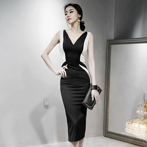 2019 ???????? ??? ?????????????????????? sexy-V-sleeveless Slim hit color bag hip vest dress tide