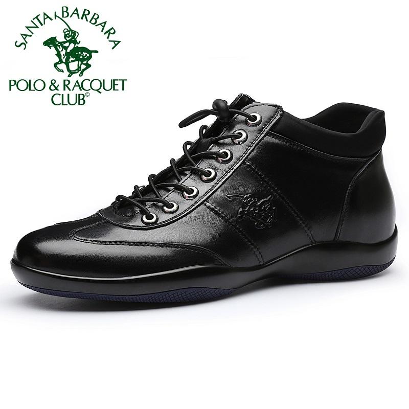 圣大保罗男鞋冬季加绒保暖板鞋真皮高帮鞋男士休闲皮鞋短筒皮靴