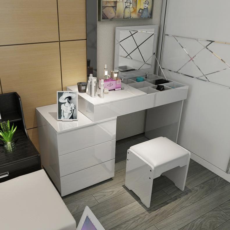 Туалетный столик Спальня туалетный столик Тип плиты современный минималистский мода макияж шкаф простой твердой древесины в европейском стиле белый небольшая квартира туалетном столике