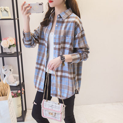 2021 spring plaid shirt female loose long sleeve hundred casual students grind large size Korean shirt jacket blue