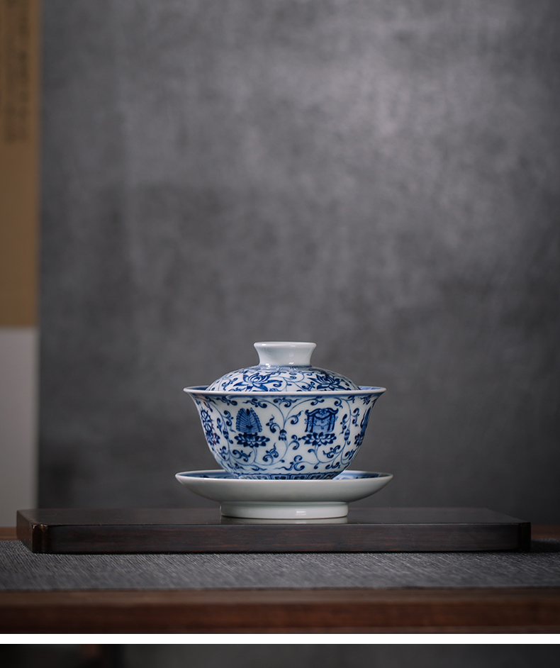 Jingdezhen blue and white only three firewood tureen antique hand - made maintain ceramic checking tea lotus flower tea bowl