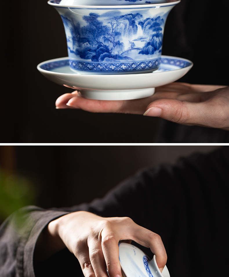 Macro sets hin jingdezhen tureen hand - drawn work full of blue and white landscape three to make tea tureen white porcelain cups in large bowl