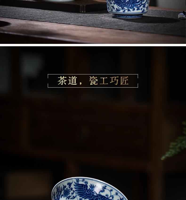Archaize jingdezhen blue and white chicken tureen ceramic cups large bowl three just tureen hand - made porcelain cup