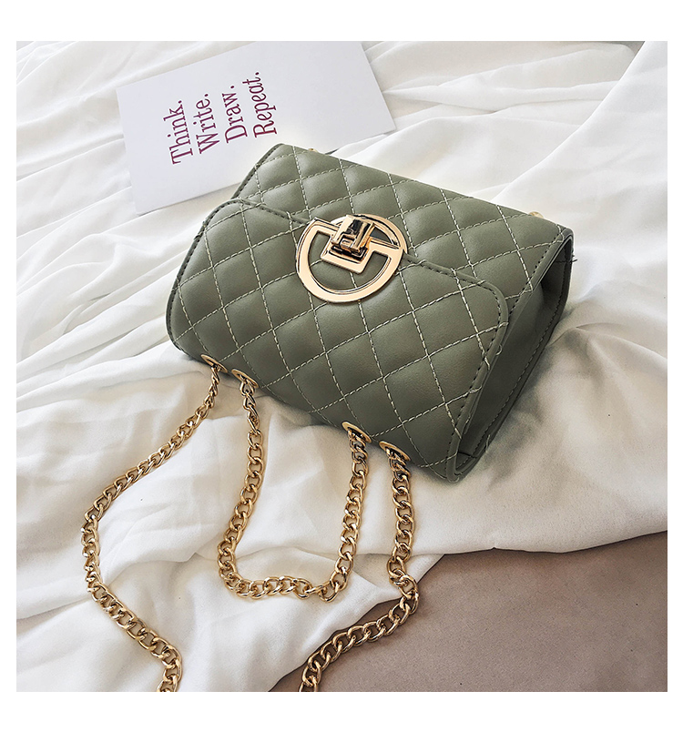 Fashion Small Square Bag Handbag 2019 High-quality PU Leather Chain Mobile Phone Shoulder bags Green one size 43