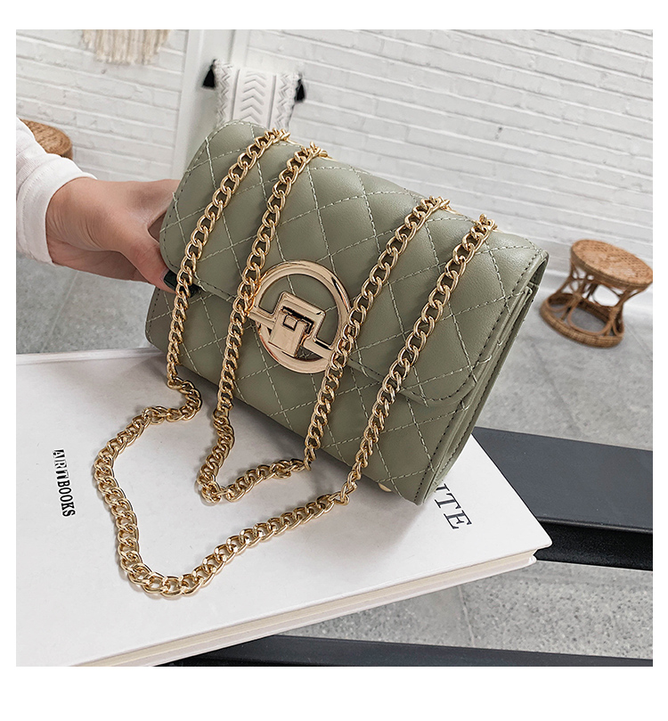 Fashion Small Square Bag Handbag 2019 High-quality PU Leather Chain Mobile Phone Shoulder bags Green one size 8