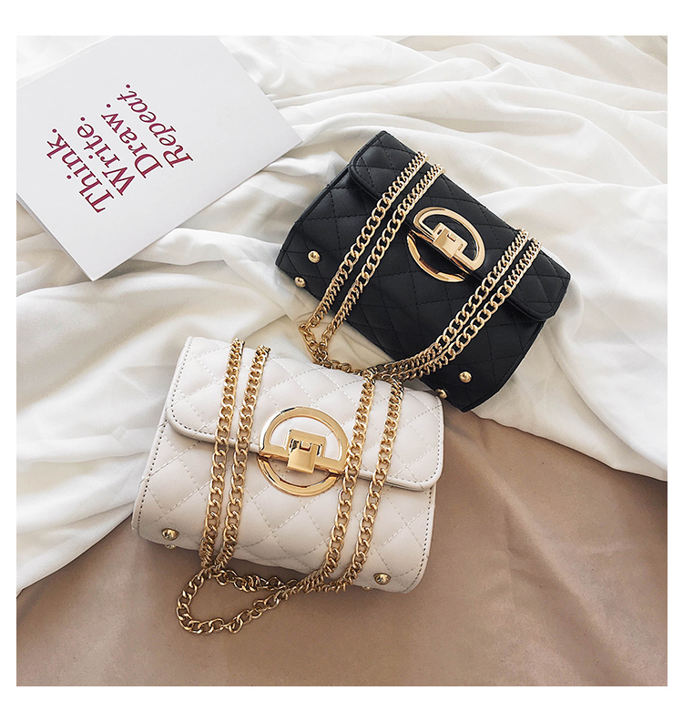 Fashion Small Square Bag Handbag 2019 High-quality PU Leather Chain Mobile Phone Shoulder bags Green one size 41