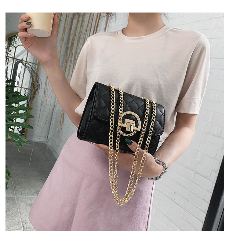Fashion Small Square Bag Handbag 2019 High-quality PU Leather Chain Mobile Phone Shoulder bags Green one size 31