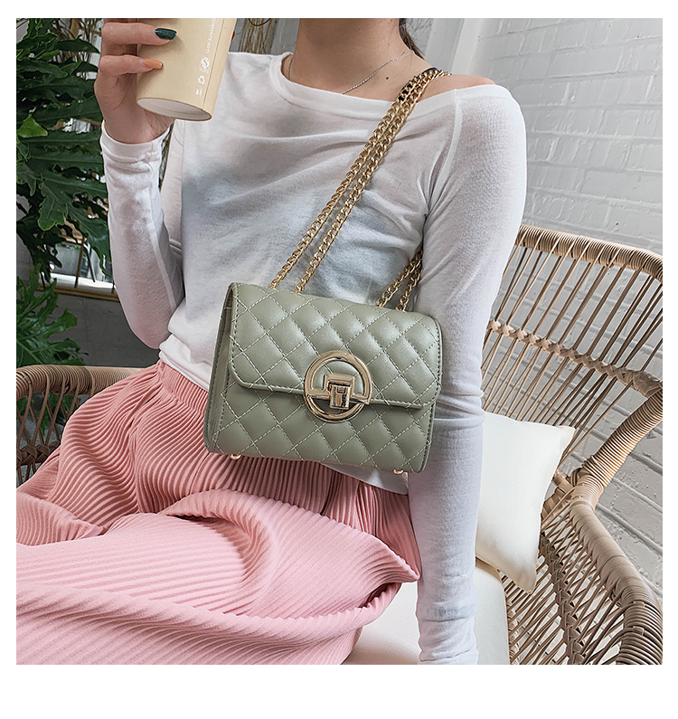 Fashion Small Square Bag Handbag 2019 High-quality PU Leather Chain Mobile Phone Shoulder bags Green one size 4