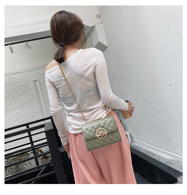 Fashion Small Square Bag Handbag 2019 High-quality PU Leather Chain Mobile Phone Shoulder bags Green one size 9