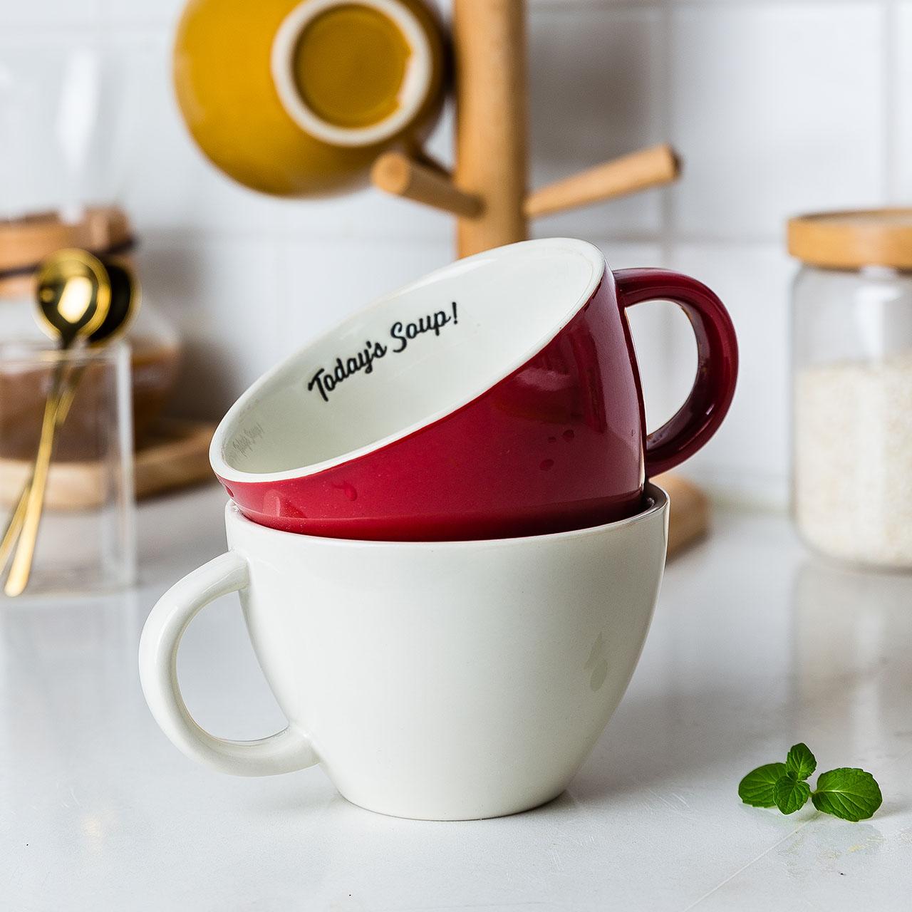 摩登主妇简约大容量带把马克杯陶瓷水杯早餐杯麦片杯情侣水杯家用