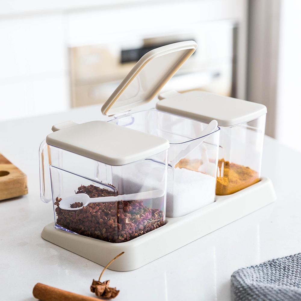 摩登主妇塑料调料盒厨房用品套装家用糖盐罐调味罐收纳盒3件组合
