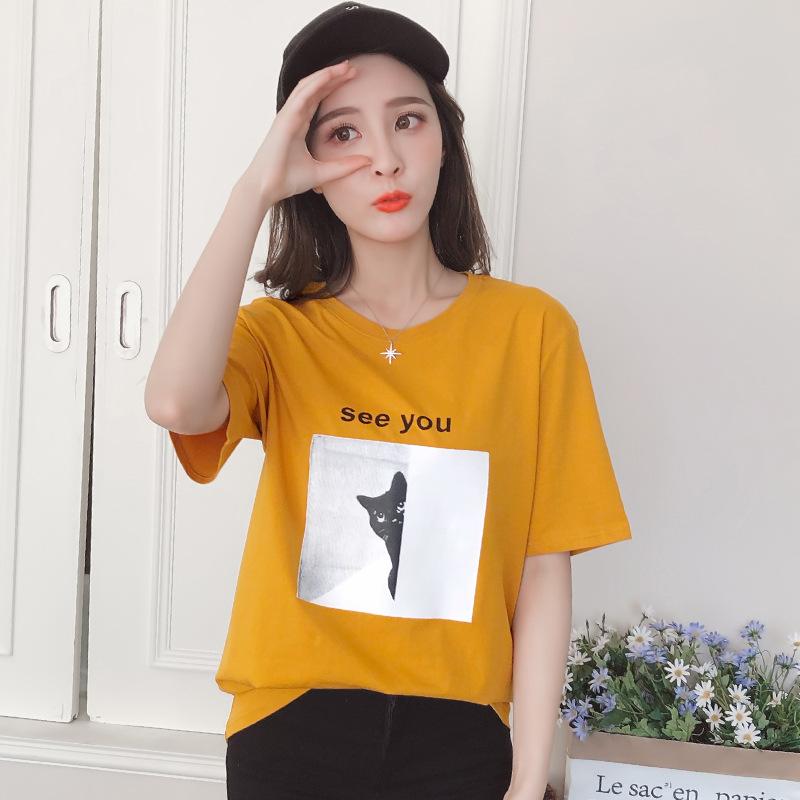 网红t恤女短袖2018夏季新款韩版拉夏贝尔7m短袖纯棉黄色短袖圆领t