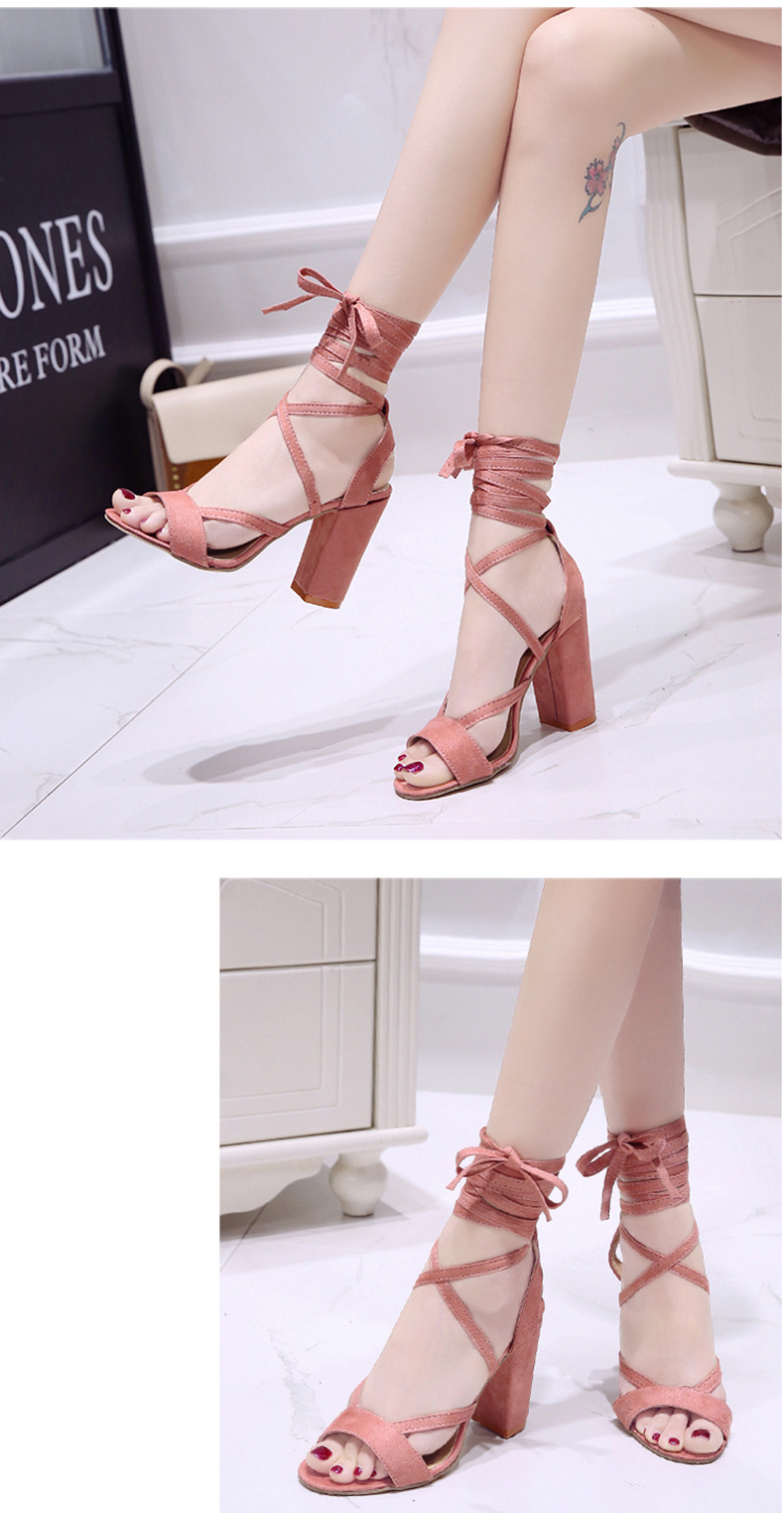 Summer new Roman style cross straps thick with sandals wild small fresh high heels. 19