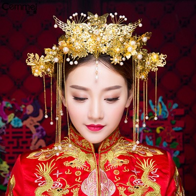 Chinese costume hair accessories Cernmei/Beautiful Bride Headdress Chinese Wedding Peacock Headdress Danfeng Crown Ancient Hair Ornament