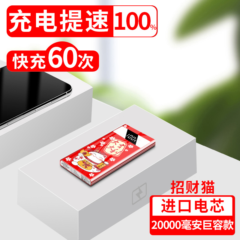 Lucky Cat 20,000 Mah [giant Capacity + Imported Batteries]-100% Faster Charging