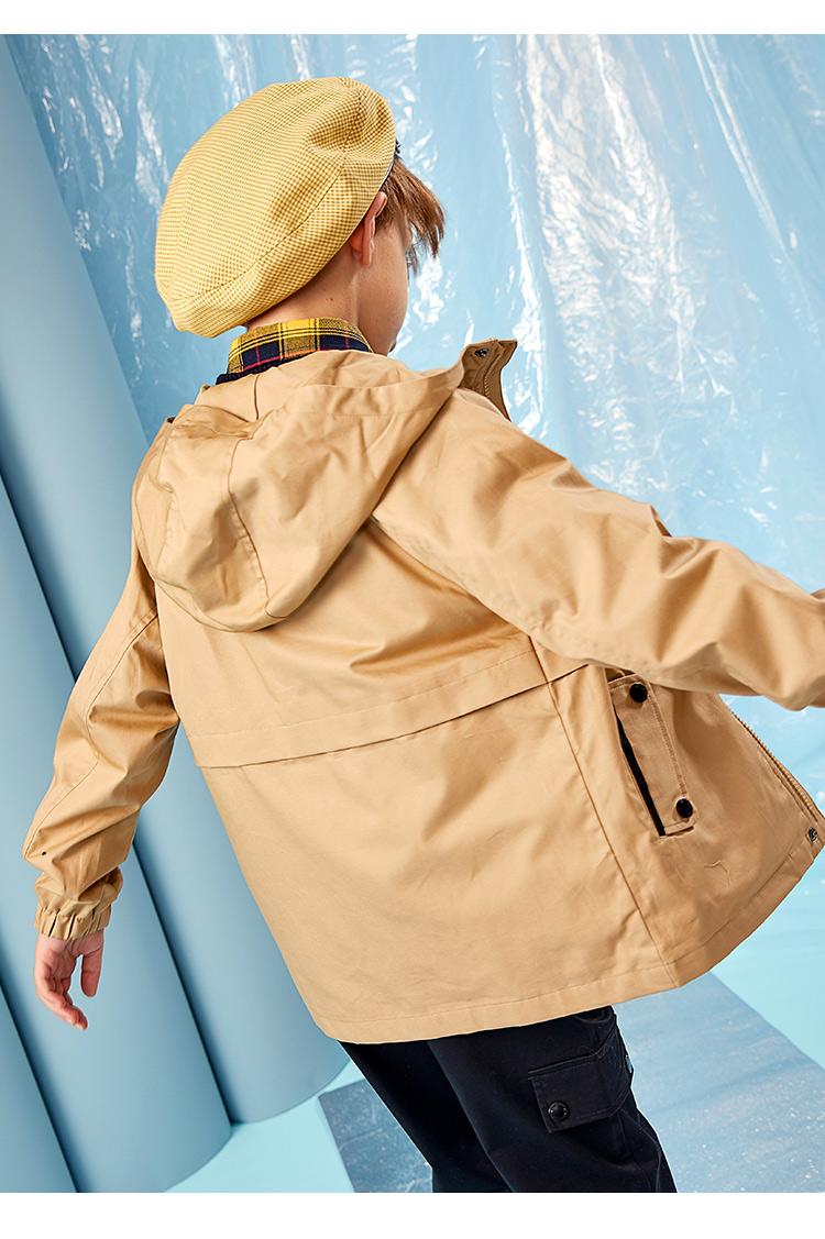 暇步士 儿童 工装风 连帽风衣 防风防泼水 图11