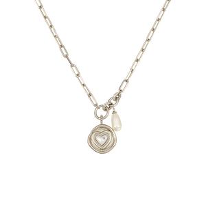 阿吉豆珍心印记系列爱心珍珠圆牌吊坠项链520情人节礼物送女友