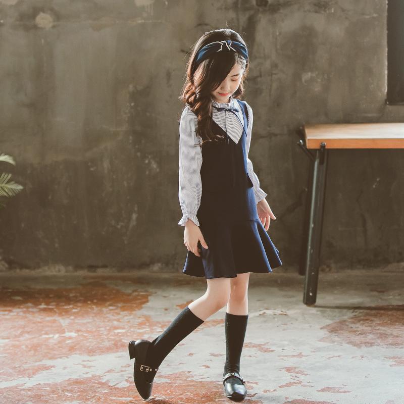 На девочку Платье осень 2018 новая коллекция Маленькая девочка детское длинный рукав осень для маленькой принцессы юбка детские Ультра-океанская юбка