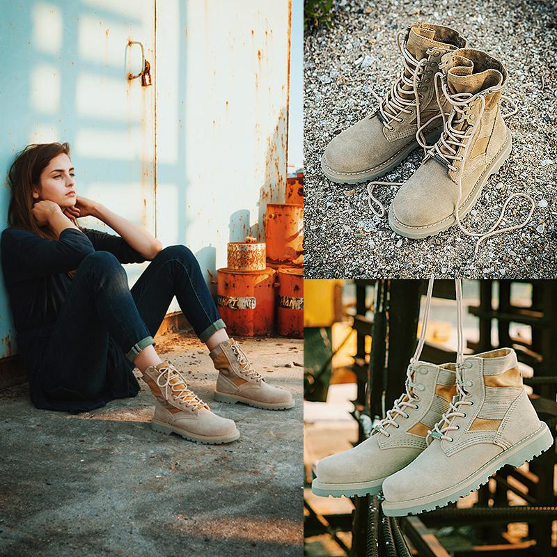 马丁靴女英伦风ins复古平底学生沙漠工装军靴男情侣短靴2018新款