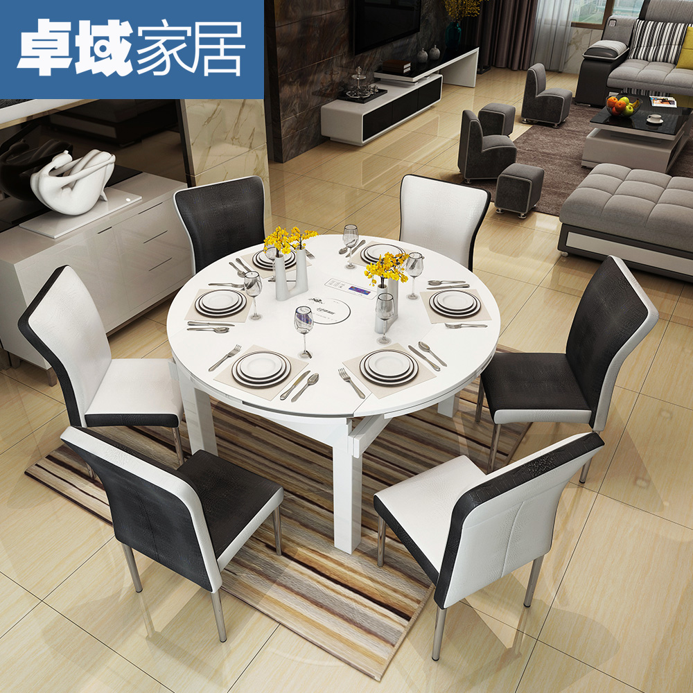 Usd 416 14 Retractable Solid Wood Folding Dining Table Round 6