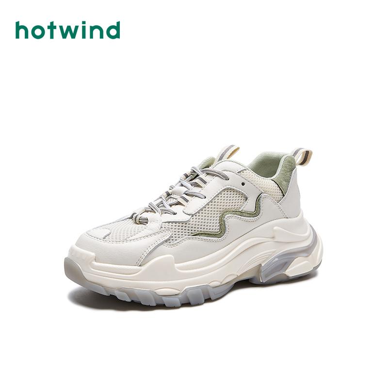 Hotwind/热风白色老爹鞋女ins潮网面小白鞋秋季透气2020新款百搭
