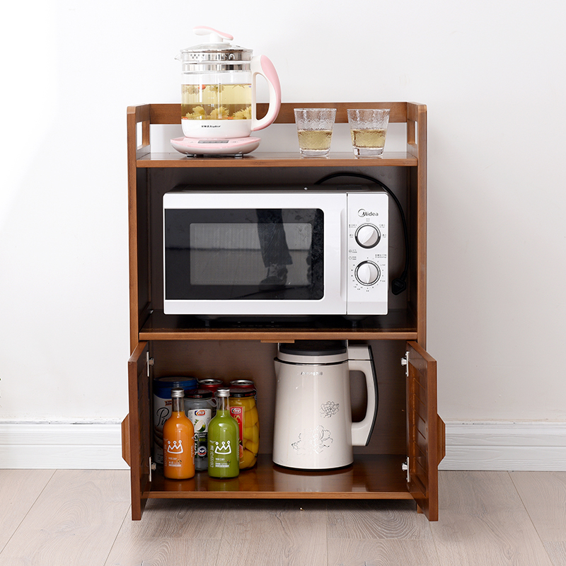 Small Bamboo Carpenter Dining Cabinet Kitchen Modern Simple Tea Cupboard Storage Microwave
