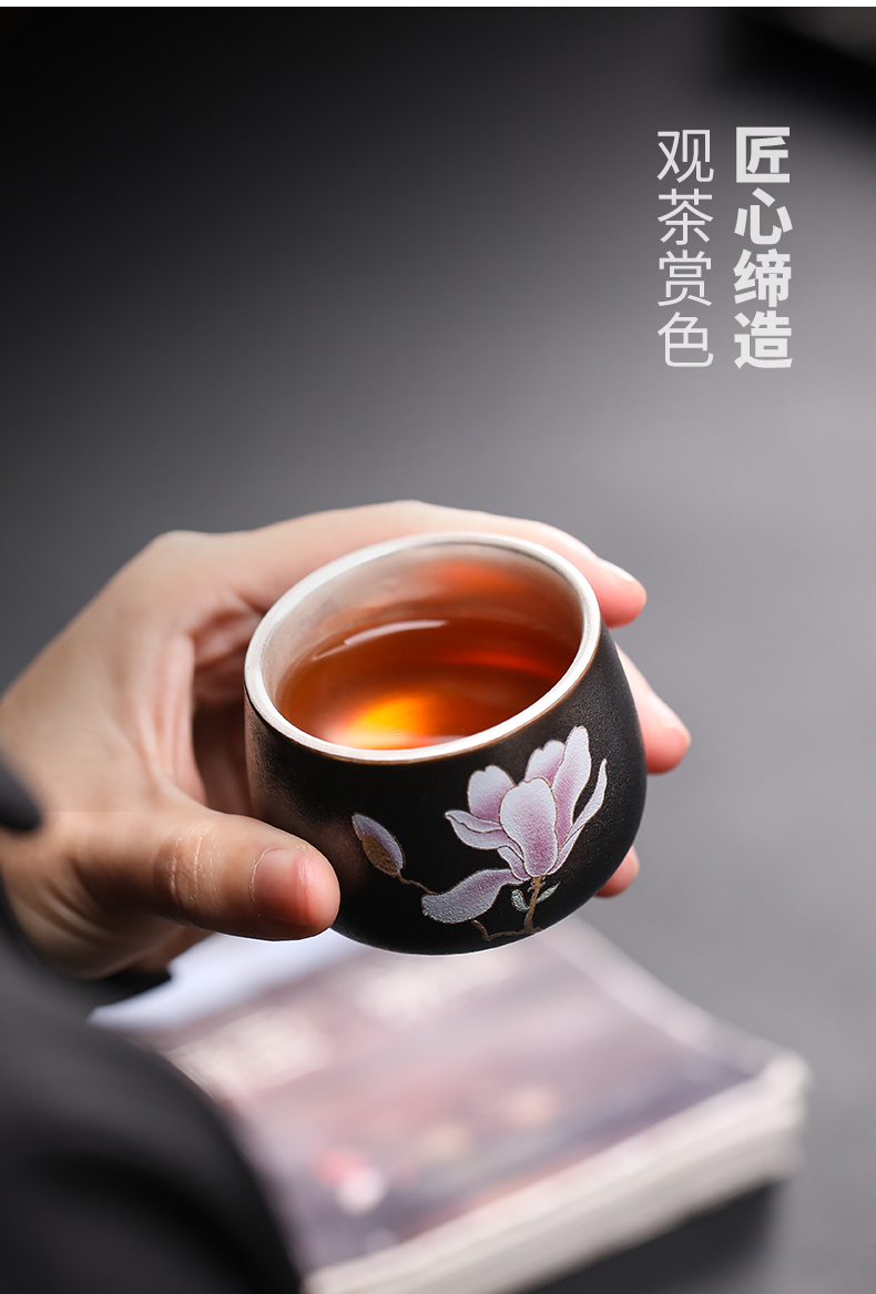 Ji 999 grilled blue glaze flower series coppering. As silver sample tea cup master kung fu tea cups jingdezhen ceramic cup
