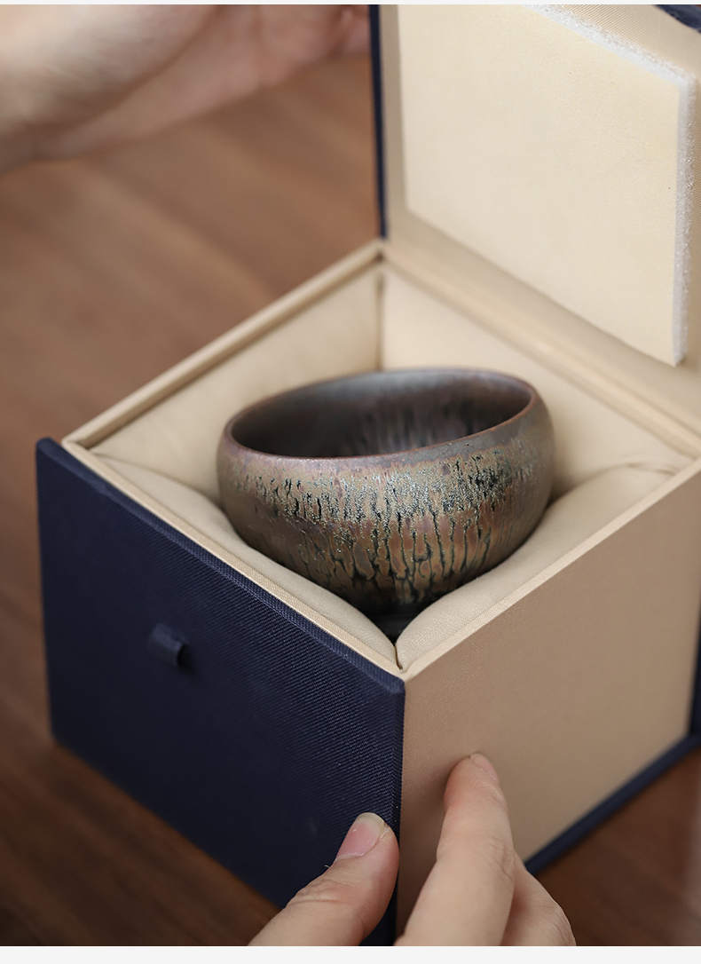 Temmoku up built hand made light masters cup ceramic sample tea cup kunfu tea tea cup home hand grasp a cup of tea cup