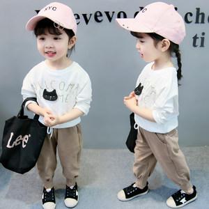 女宝宝秋装套装0一1-2-3岁韩版潮4婴儿衣服洋气时髦小女童春夏装4