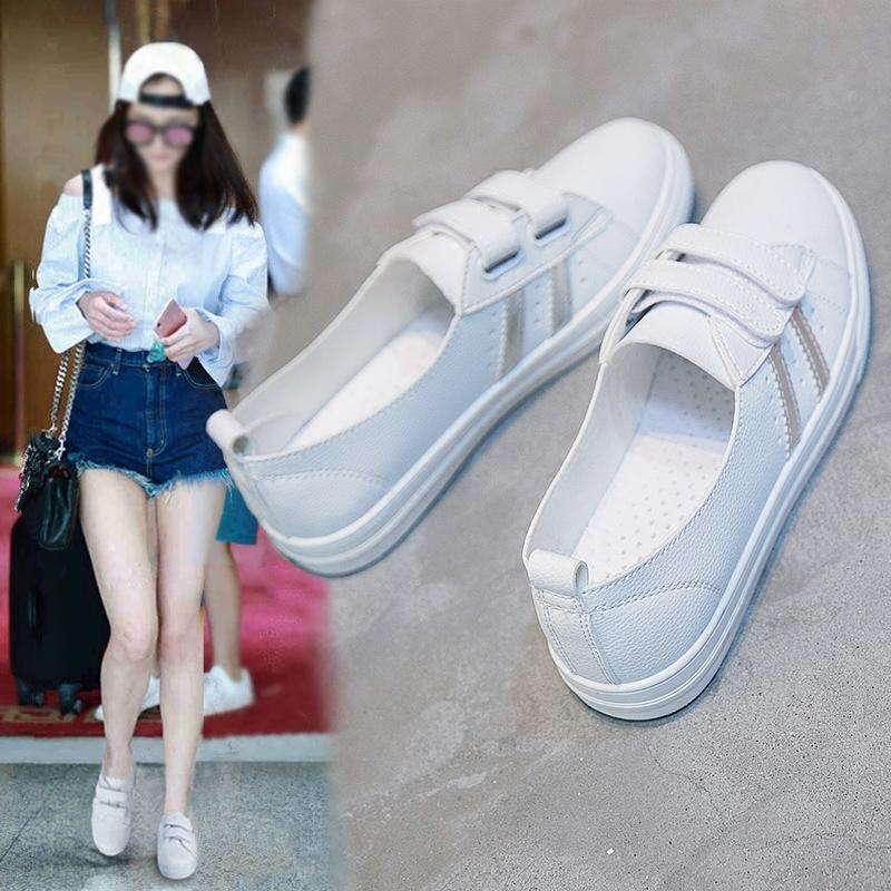 2018夏季新款小白鞋女鞋百搭浅口懒人帆布鞋韩版魔术贴一脚蹬白鞋