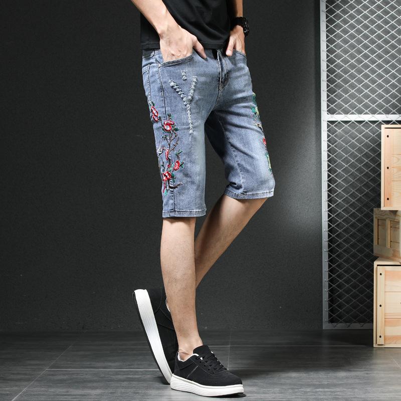 夏季新款短裤刺绣韩版男式小直筒青年男裤大码五分牛仔龙色中裤