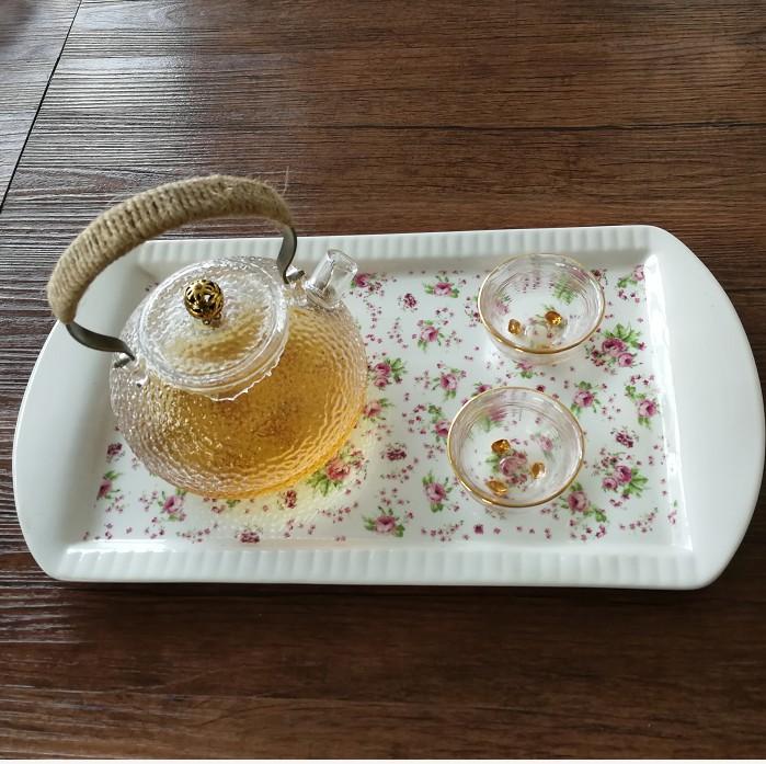 Rectangular plates Rectangular tray of household ceramic fruit bowl water glass tray