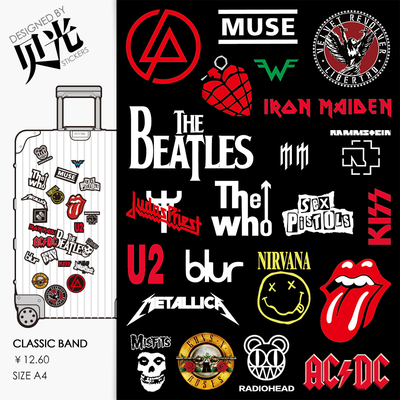 Lincoln park rock band sticker trolley suitcase sticker suitcase guitar personality waterproof shell light 20
