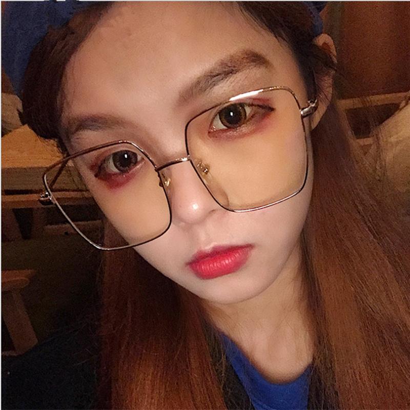 个性网红款防辐射眼镜女平光镜大框男无度数防蓝光手机电脑眼镜框