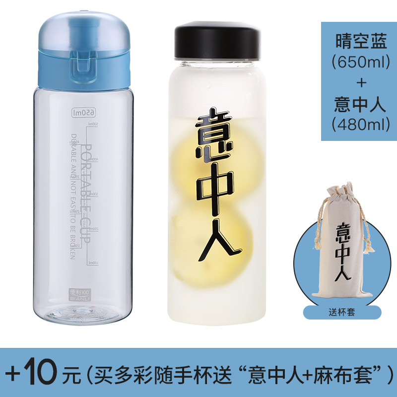 Flip cover -650ML-  blue + glass [affordable equipment]