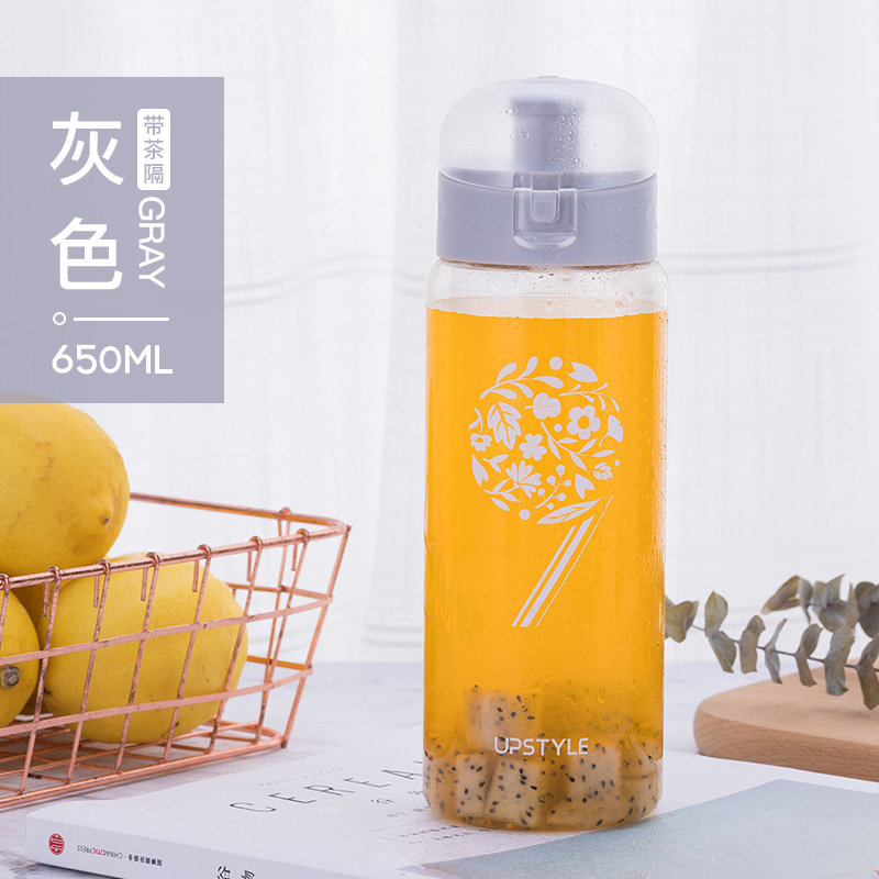 Flip cover -650ml - flower cluster gray