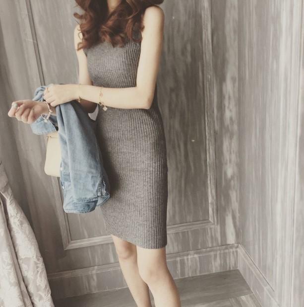 Демисезонный трикотажный без Женское платье с рукавом корейский Основание юбки пакет Бедро плотное лето приталенный фасон средней длины стиль жилет