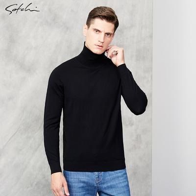 Áo len cao cổ nam Satchi / Satchi Áo len nam màu tinh khiết Áo len nam giản dị đan áo len mùa đông - Áo len