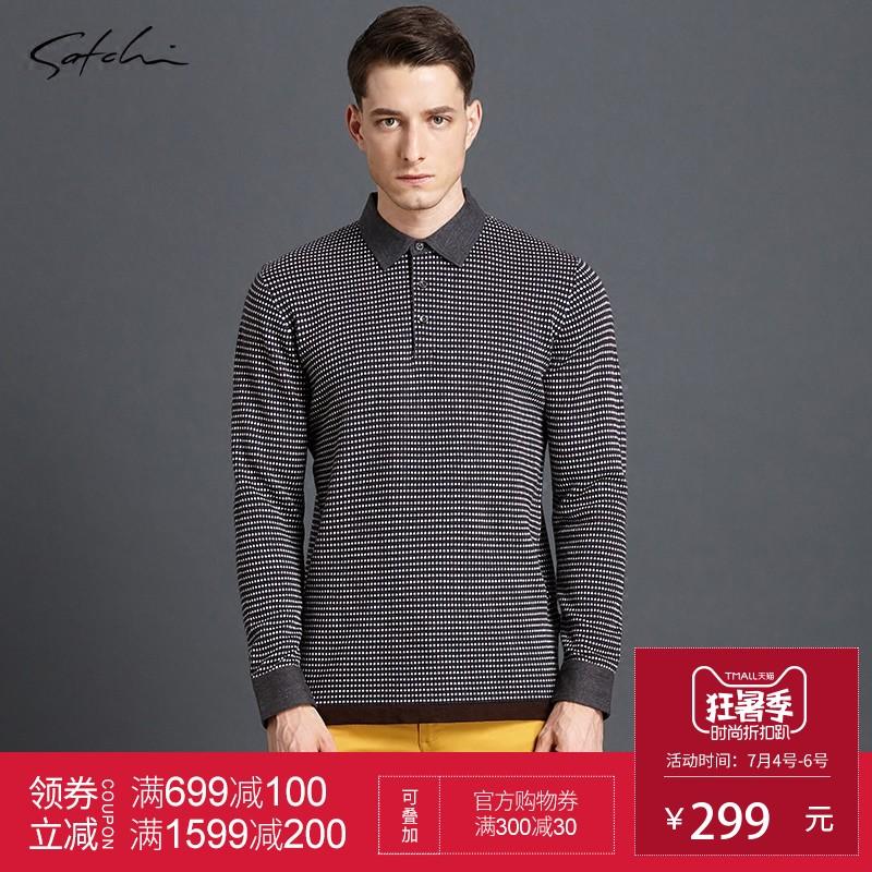 Satchi Sha Chi len ánh sáng dài tay T-Shirt nam của nam giới kinh doanh người đàn ông giản dị của POLO áo sơ mi 813626007
